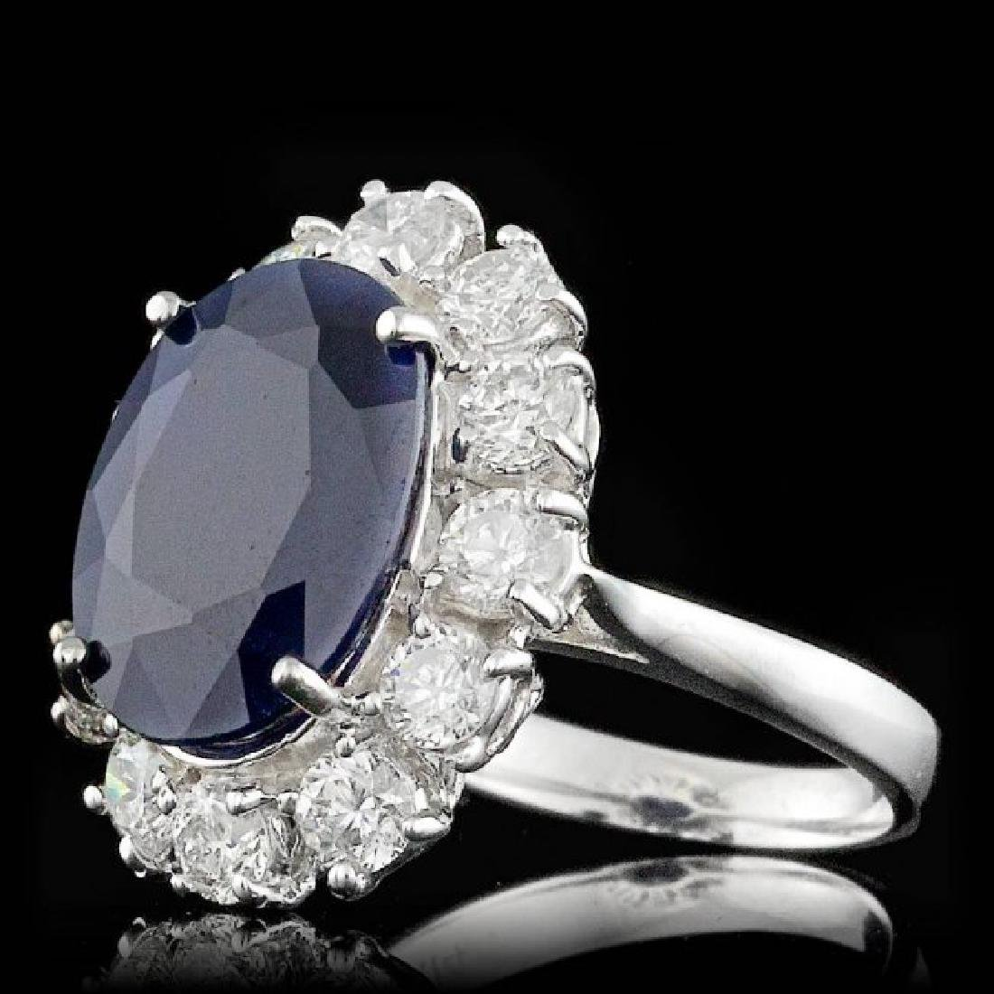 14k Gold 8.50ct Sapphire 2.30ct Diamond Ring - 2