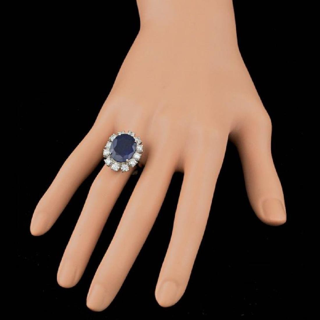 14k Gold 8.50ct Sapphire 2.30ct Diamond Ring - 3