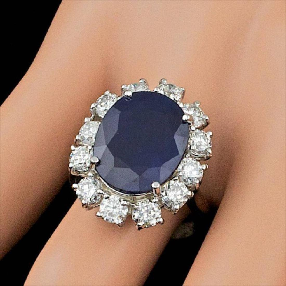14k Gold 8.50ct Sapphire 2.30ct Diamond Ring - 4