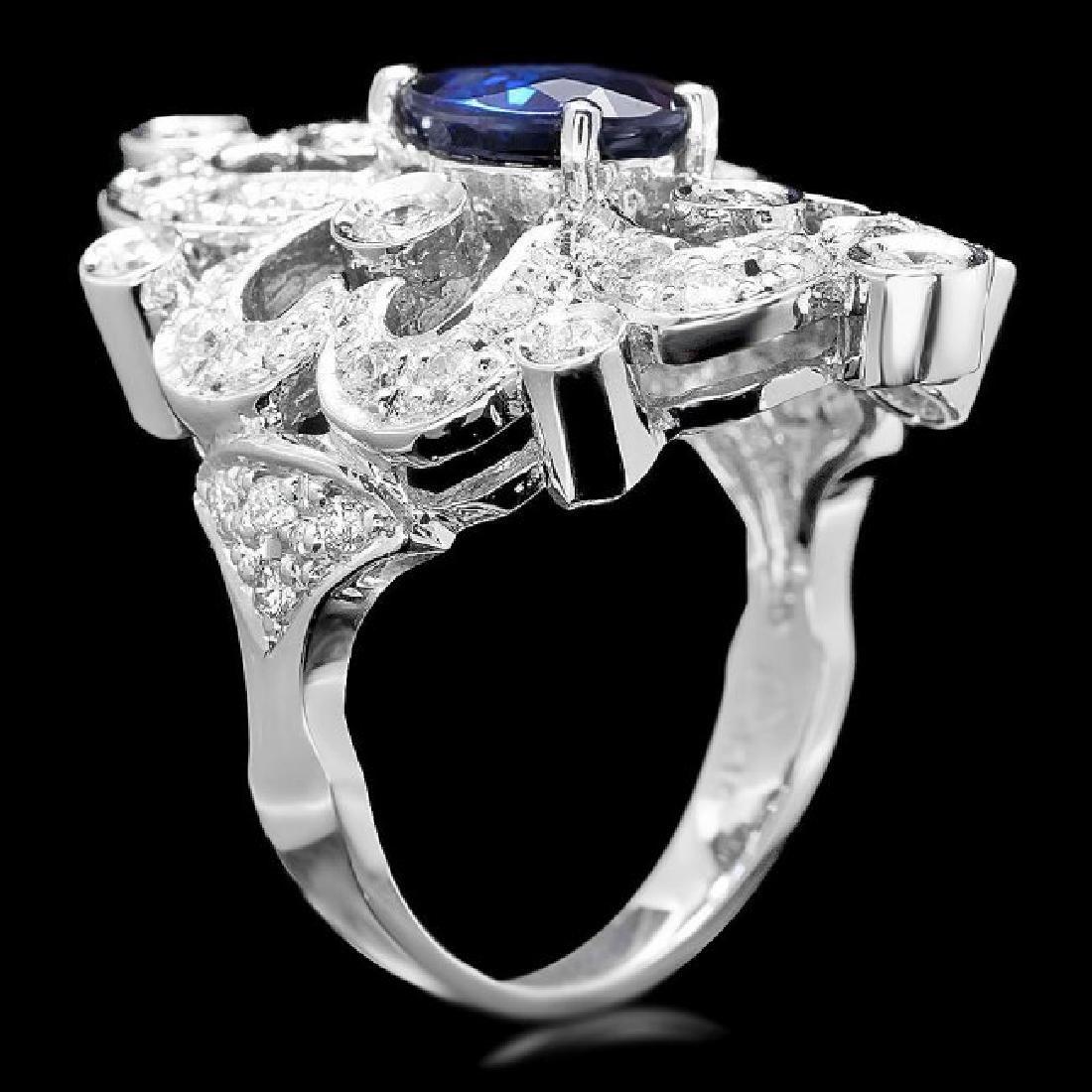 14k Gold 1.70ct Sapphire 1.30ct Diamond Ring - 2