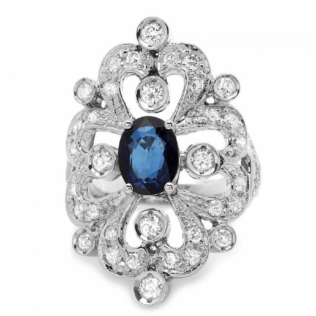 14k Gold 1.70ct Sapphire 1.30ct Diamond Ring - 3