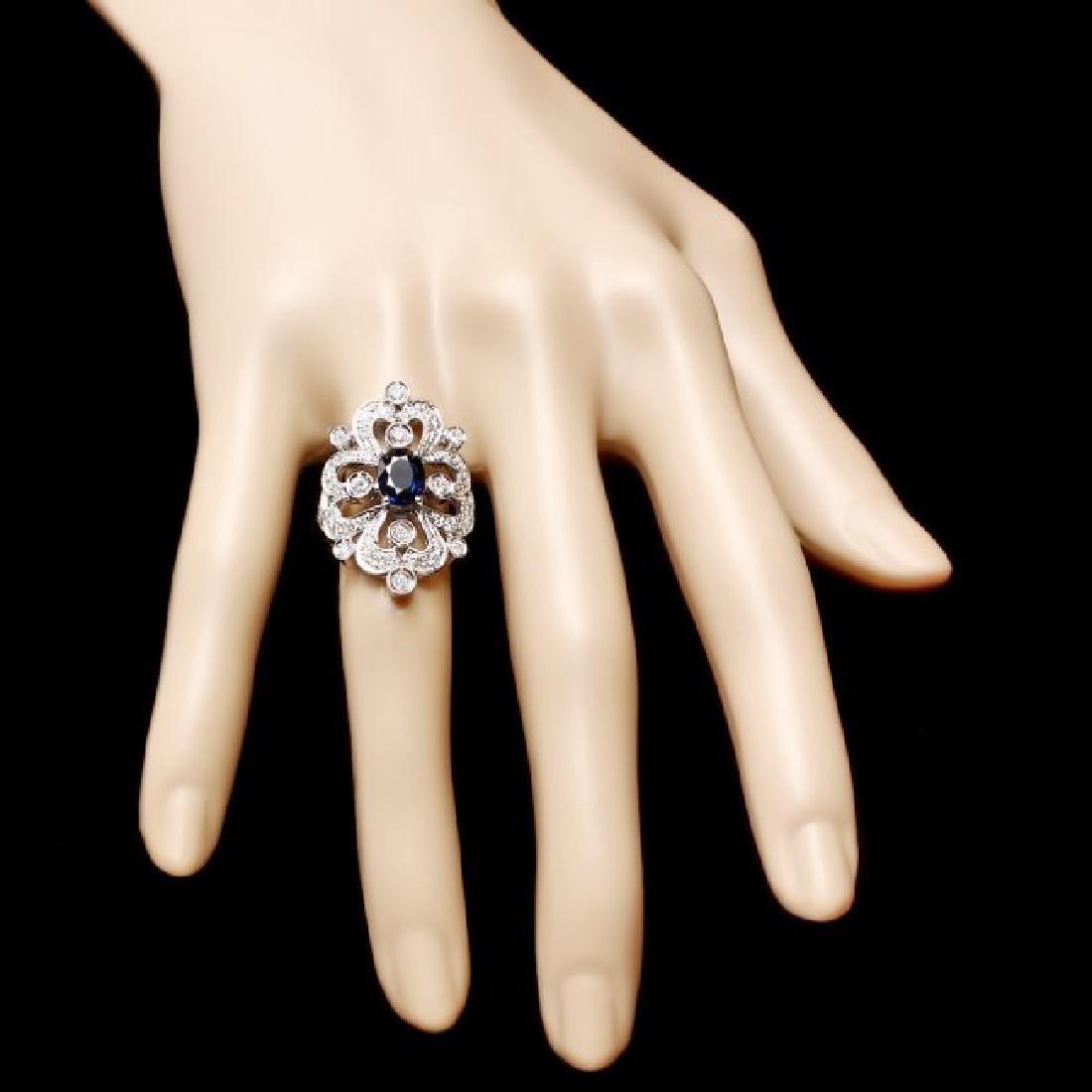 14k Gold 1.70ct Sapphire 1.30ct Diamond Ring - 4