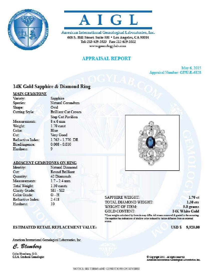 14k Gold 1.70ct Sapphire 1.30ct Diamond Ring - 5