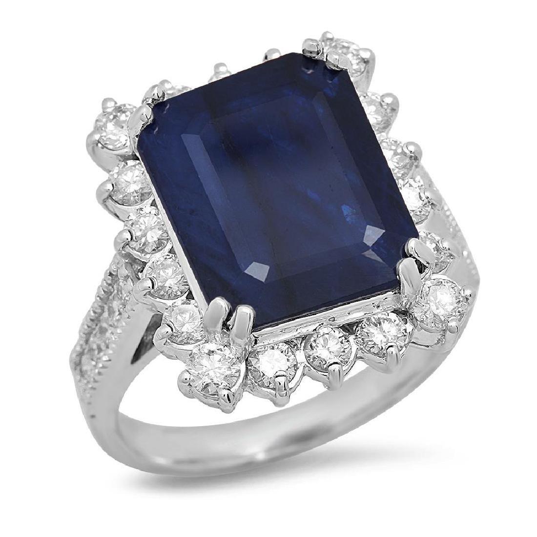 14K Gold 7.21ct Sapphire 1.25cts Diamond Ring