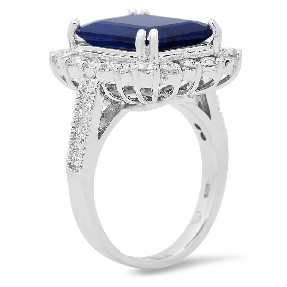 14K Gold 7.21ct Sapphire 1.25cts Diamond Ring - 2