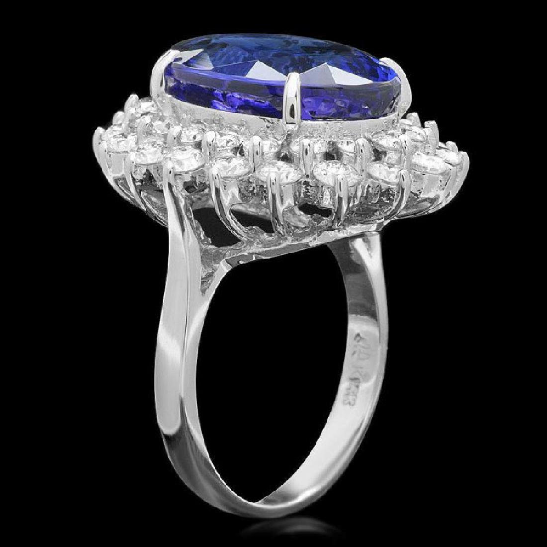 14k Gold 11.00ct Tanzanite 2.30ct Diamond Ring - 2