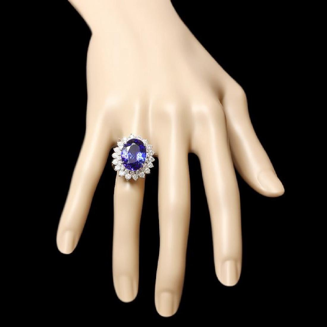 14k Gold 11.00ct Tanzanite 2.30ct Diamond Ring - 3