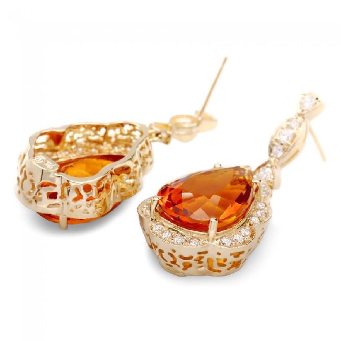 14k Gold 17ct Citrine 1.40ct Diamond Earrings - 2