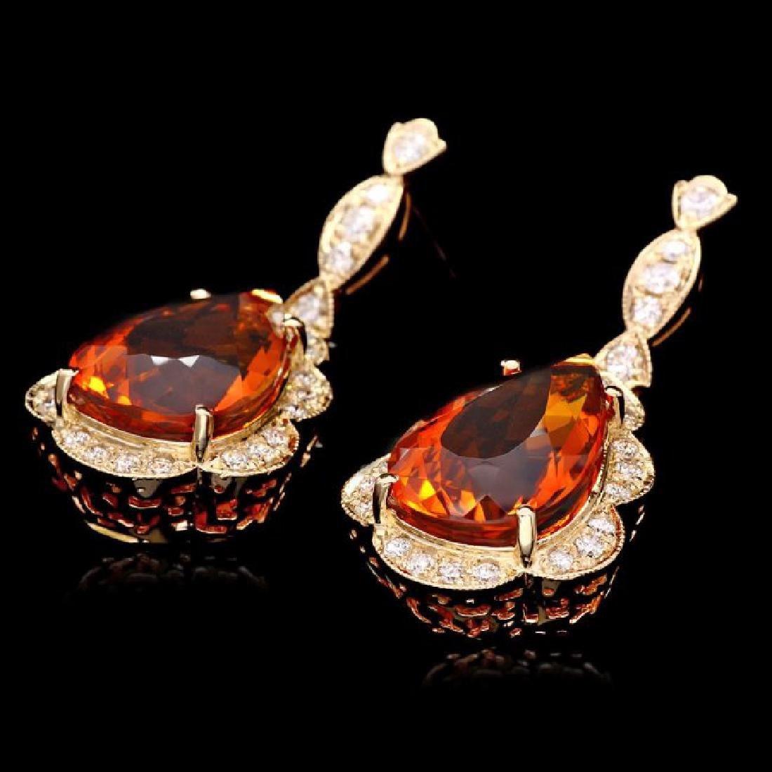 14k Gold 17ct Citrine 1.40ct Diamond Earrings - 3