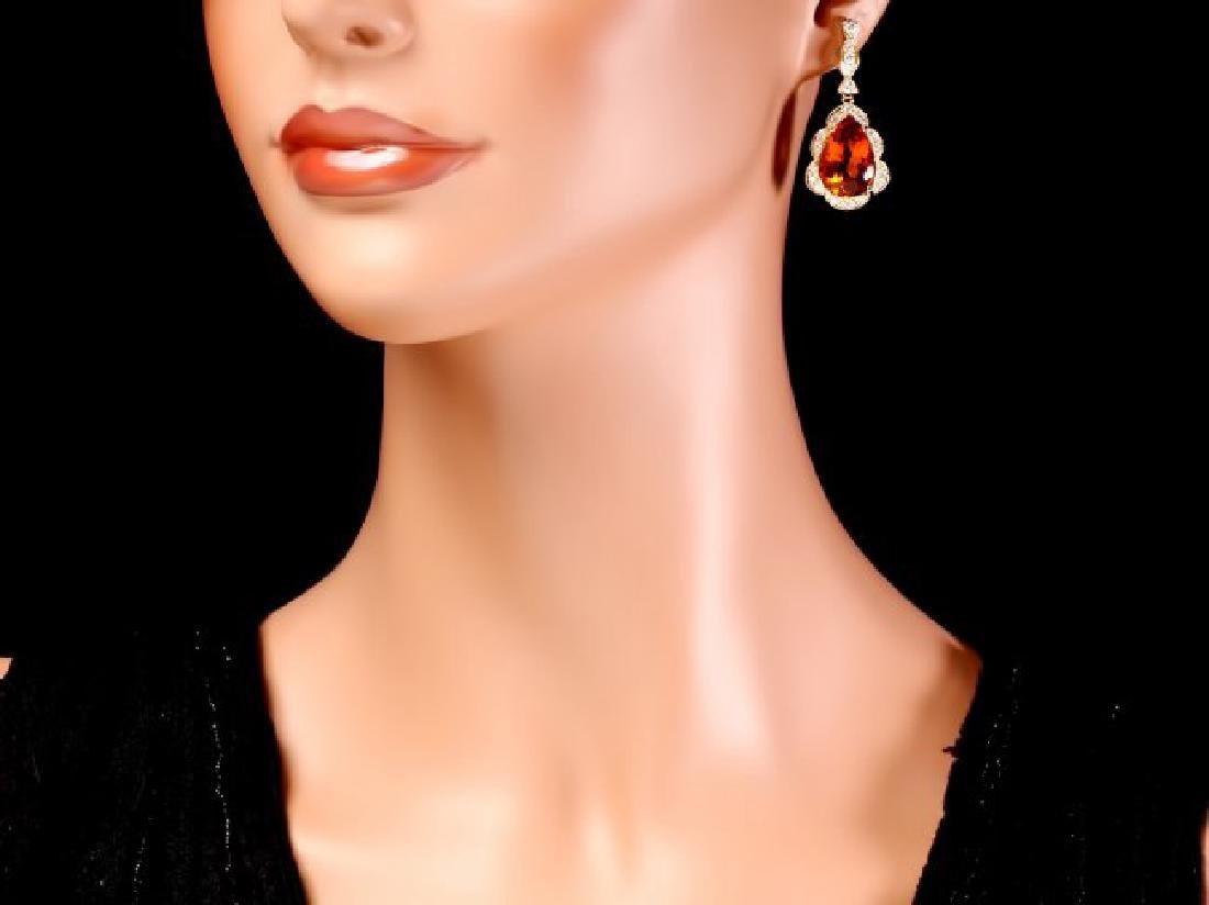 14k Gold 17ct Citrine 1.40ct Diamond Earrings - 4