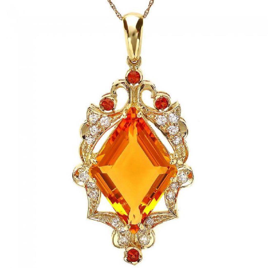 14k Gold 15ct Citrine 0.70ct Diamond Pendant - 2