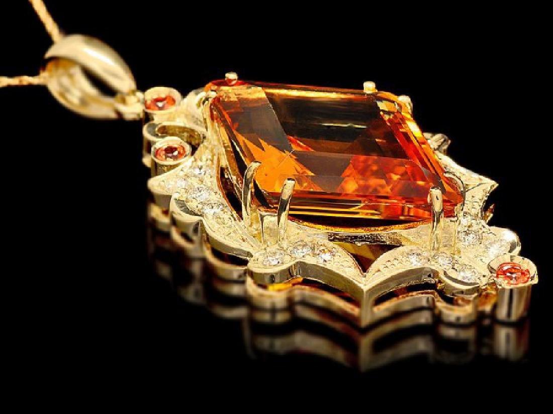 14k Gold 15ct Citrine 0.70ct Diamond Pendant - 4