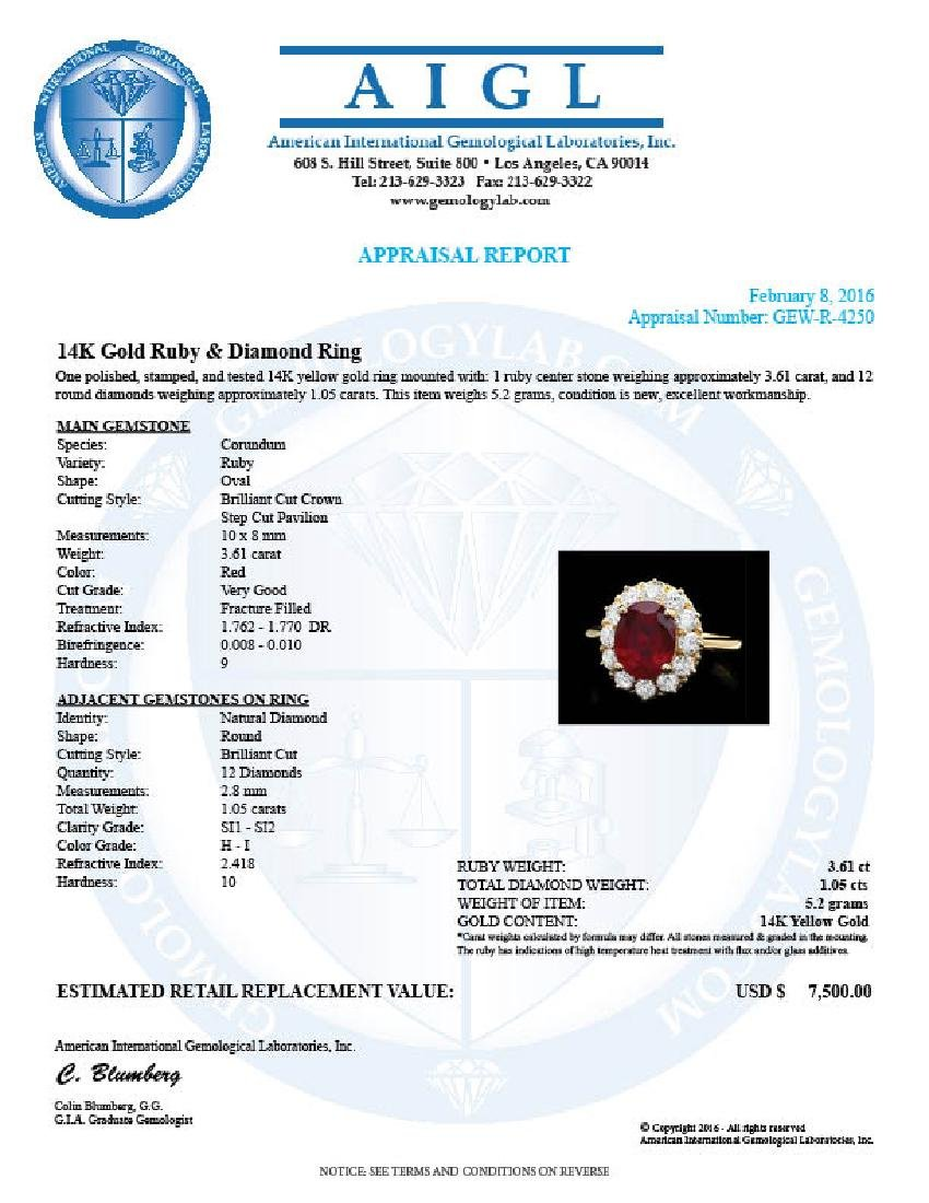 14k Yellow Gold 3.61ct Ruby 1.05ct Diamond Ring - 4