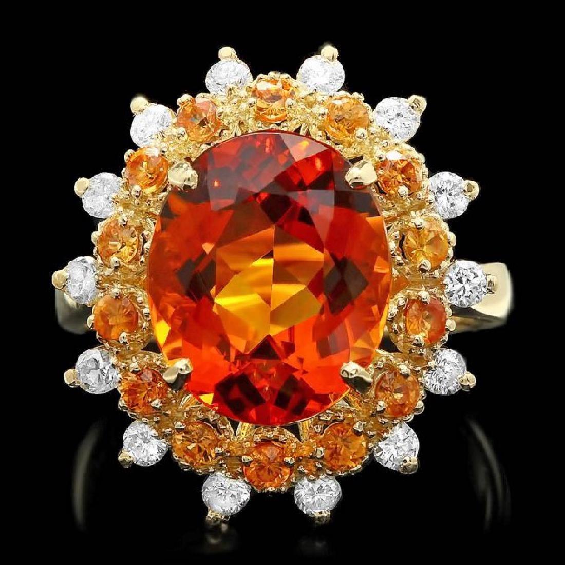 14k Gold 5.00ct Citrine 0.40ct Diamond Ring