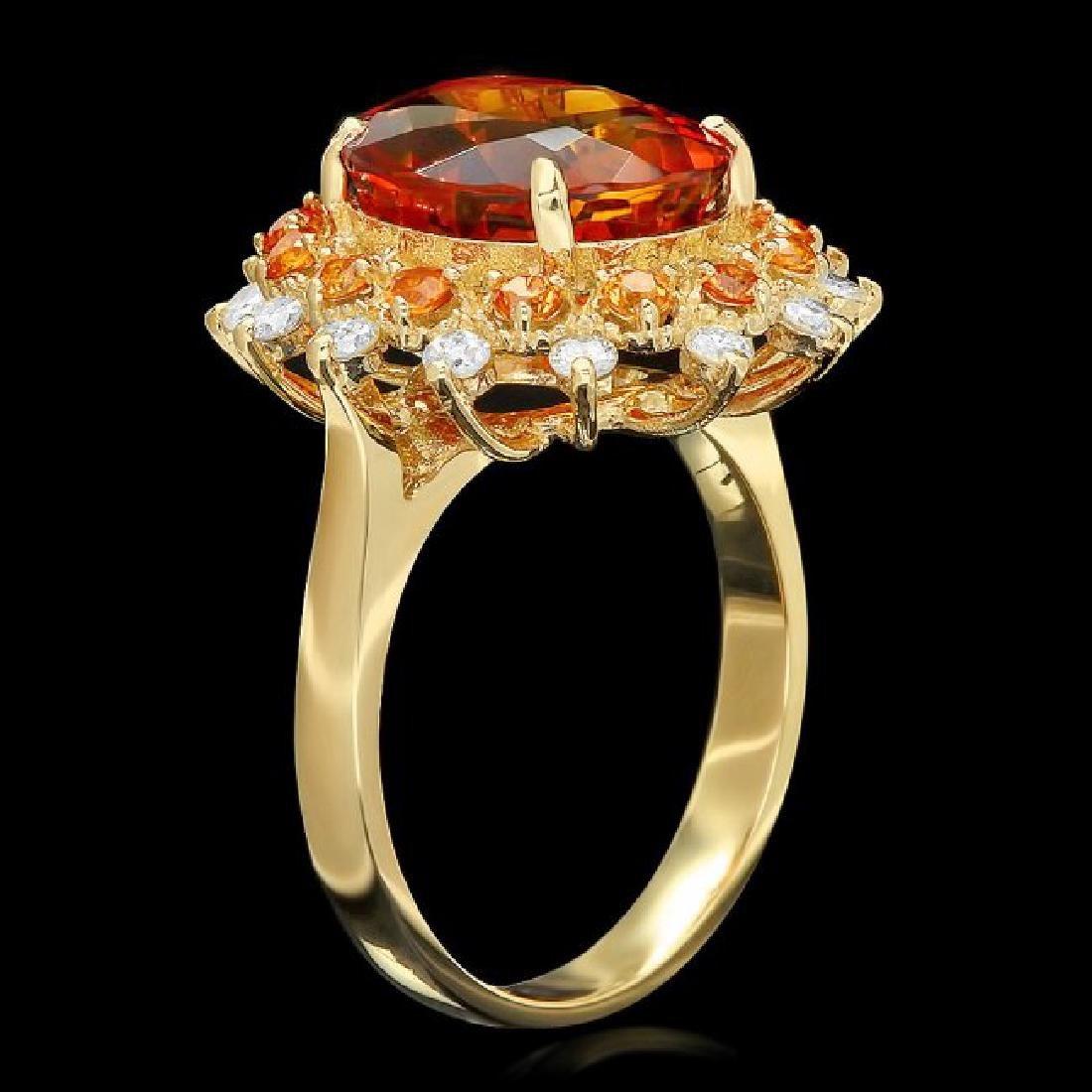 14k Gold 5.00ct Citrine 0.40ct Diamond Ring - 2