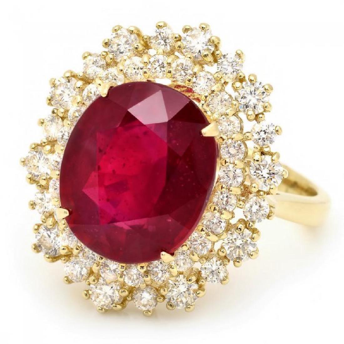 14k Yellow Gold 8.00ct Ruby 1.45ct Diamond Ring - 2