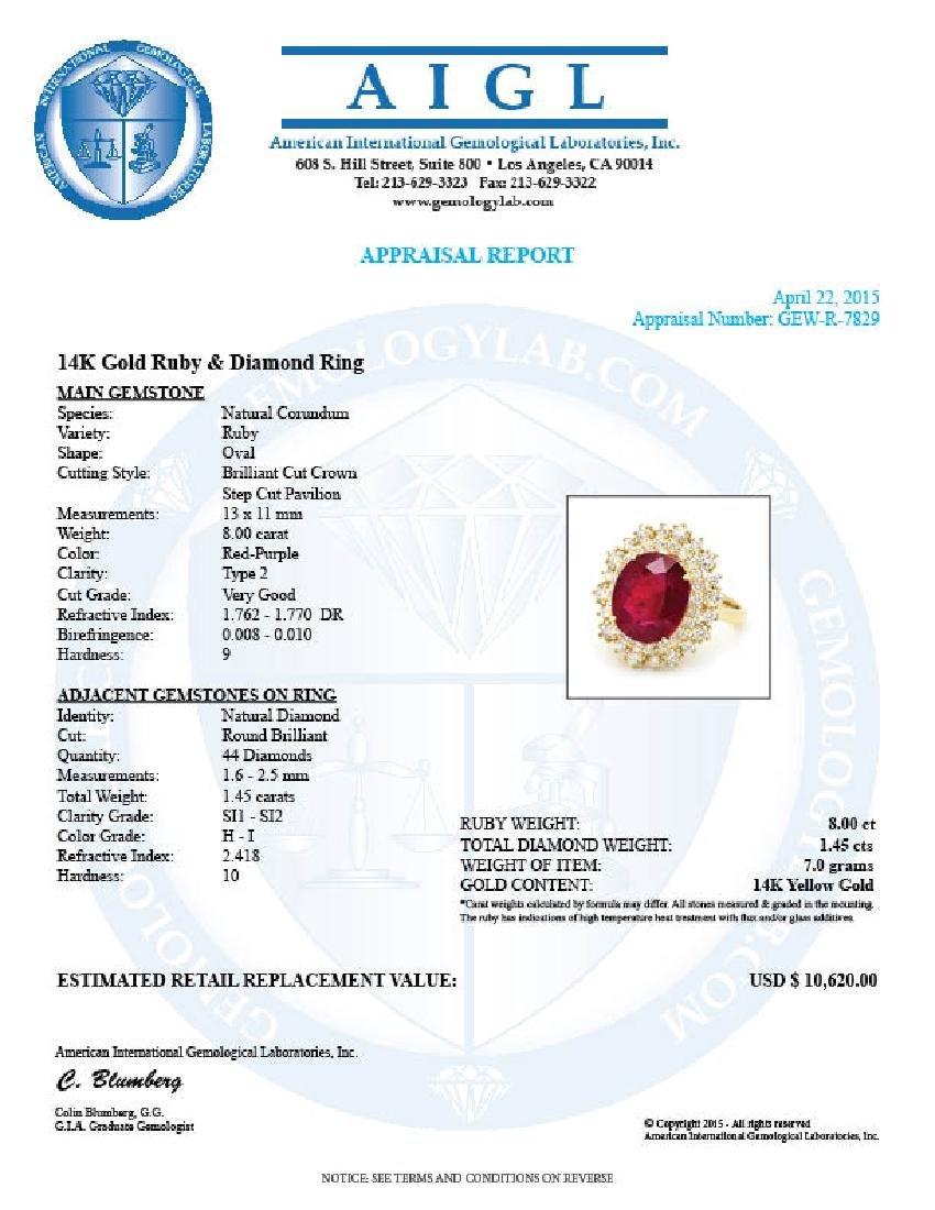 14k Yellow Gold 8.00ct Ruby 1.45ct Diamond Ring - 5