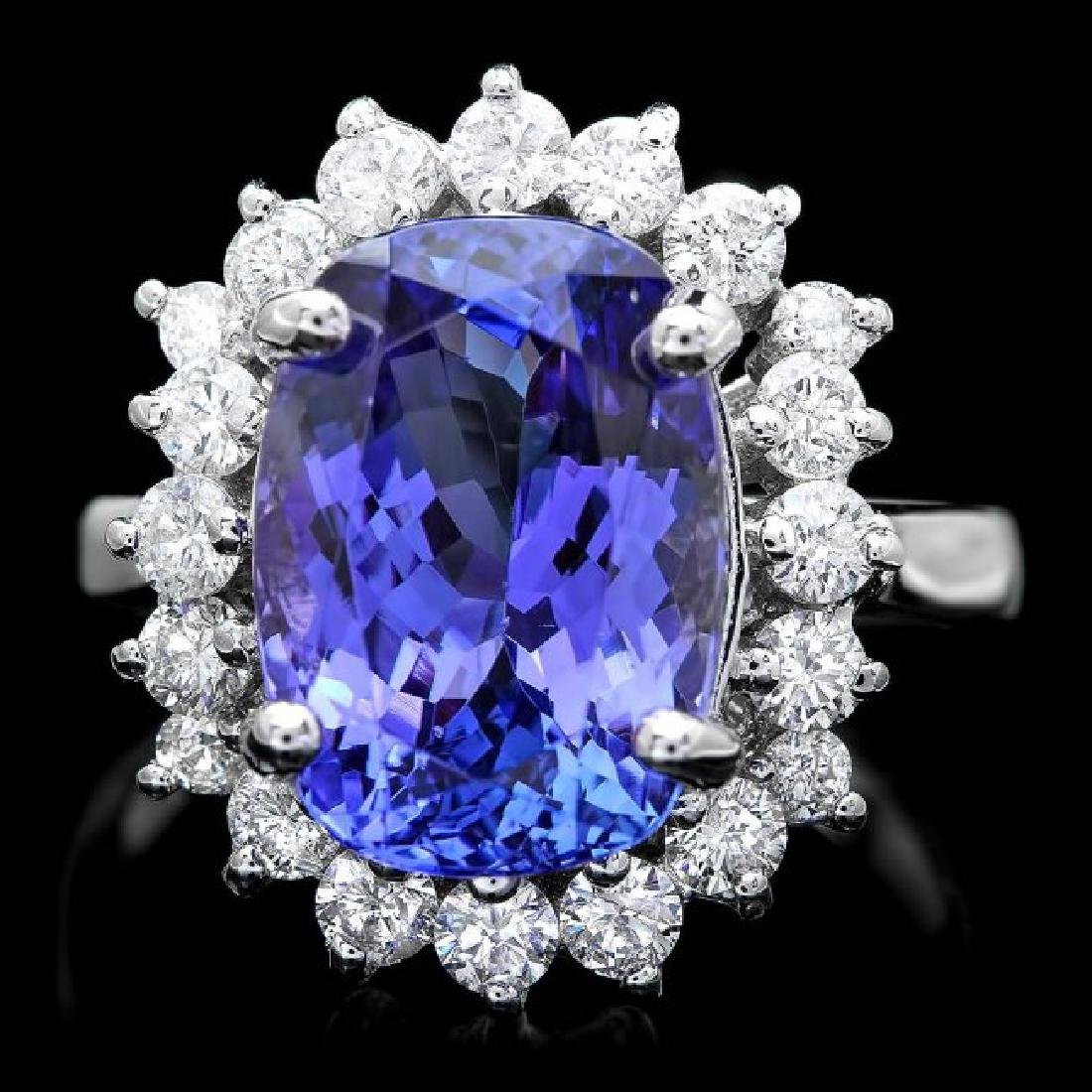 18k Gold 6.00ct Tanzanite 1.00ct Diamond Ring
