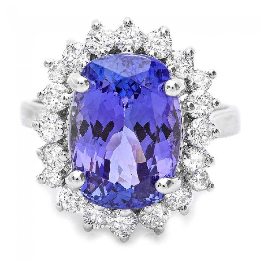 18k Gold 6.00ct Tanzanite 1.00ct Diamond Ring - 2