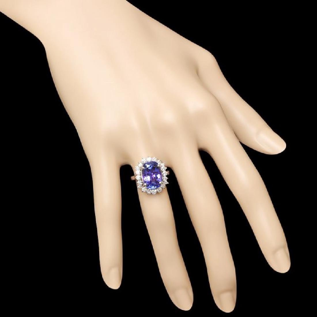 18k Gold 6.00ct Tanzanite 1.00ct Diamond Ring - 4