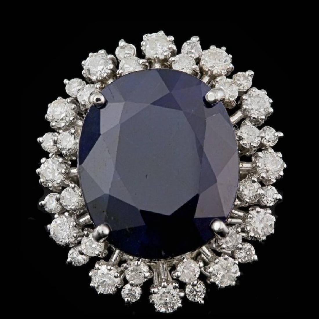 14k Gold 16.00ct Sapphire 1.55ct Diamond Ring