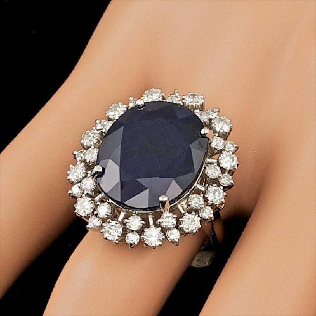 14k Gold 16.00ct Sapphire 1.55ct Diamond Ring - 3