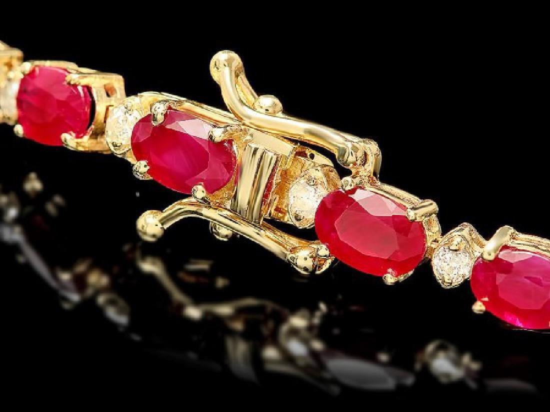 14k Gold 16.00ct Ruby 0.80ct Diamond Bracelet - 3