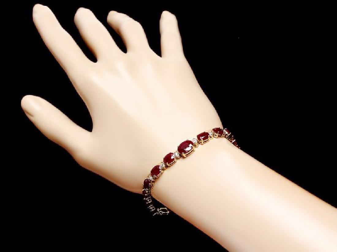 14k Gold 16.00ct Ruby 0.80ct Diamond Bracelet - 5