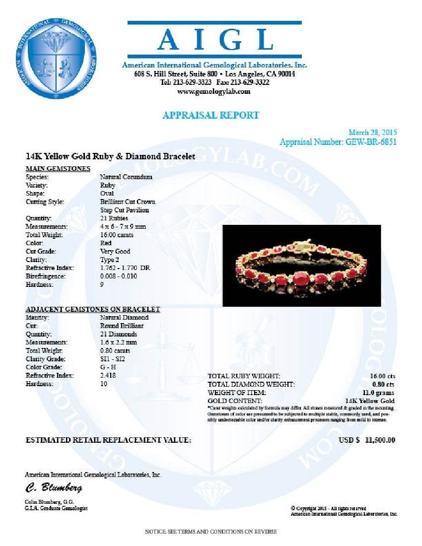 14k Gold 16.00ct Ruby 0.80ct Diamond Bracelet - 6