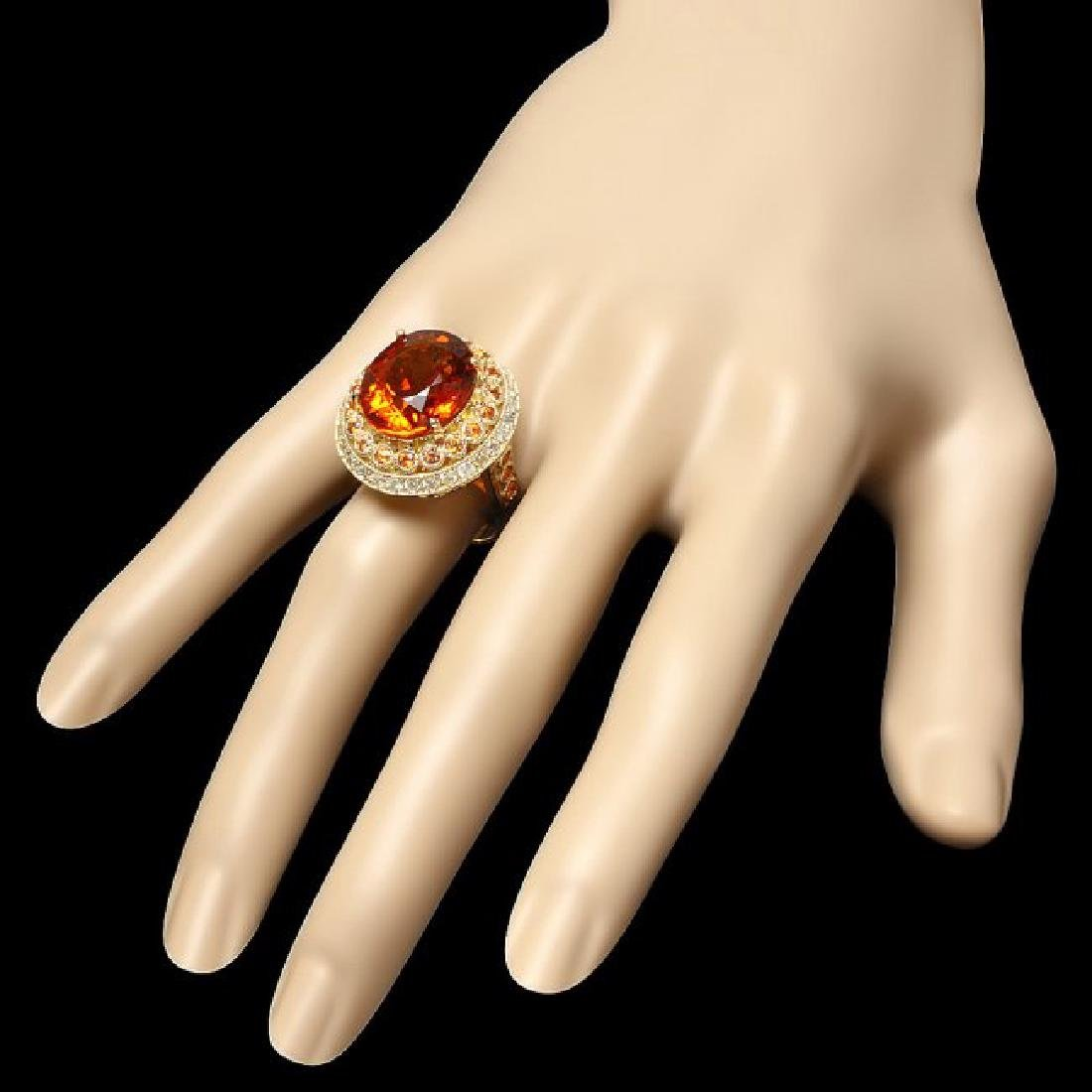 14k Gold 10.00ct Citrine 1.00ct Diamond Ring - 3
