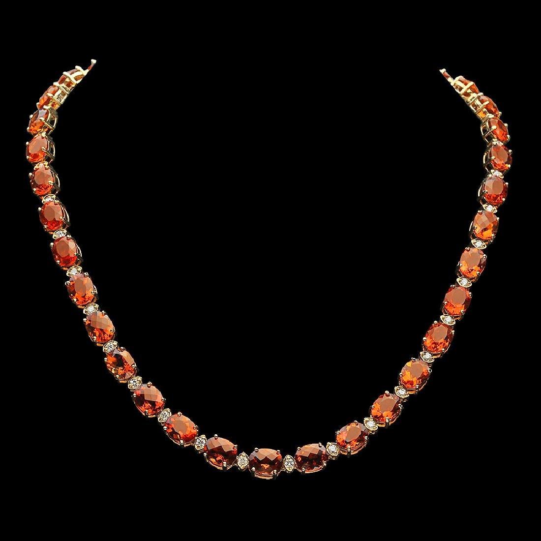 14K Gold 60.15ct Citrine Diamond Necklace