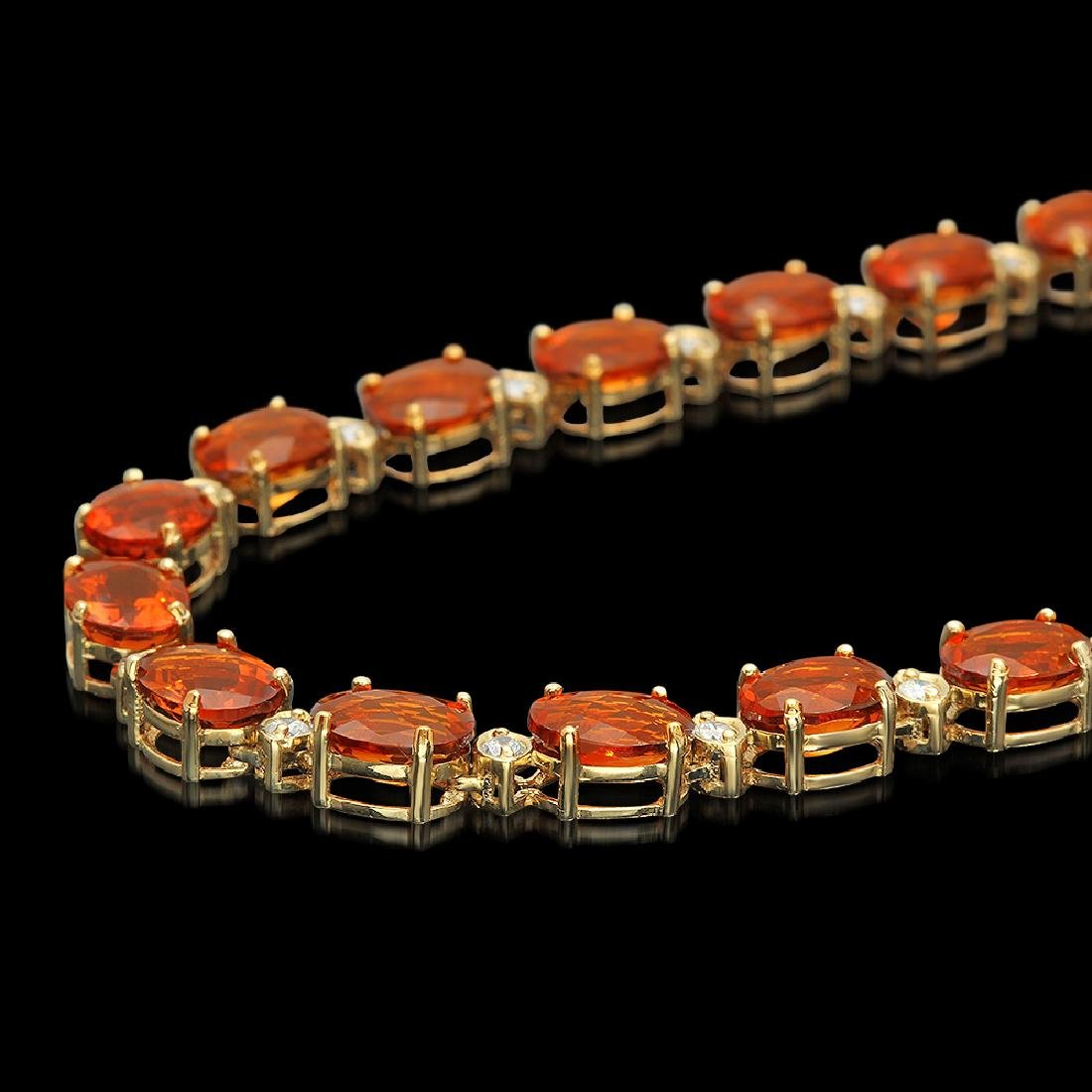 14K Gold 60.15ct Citrine Diamond Necklace - 2
