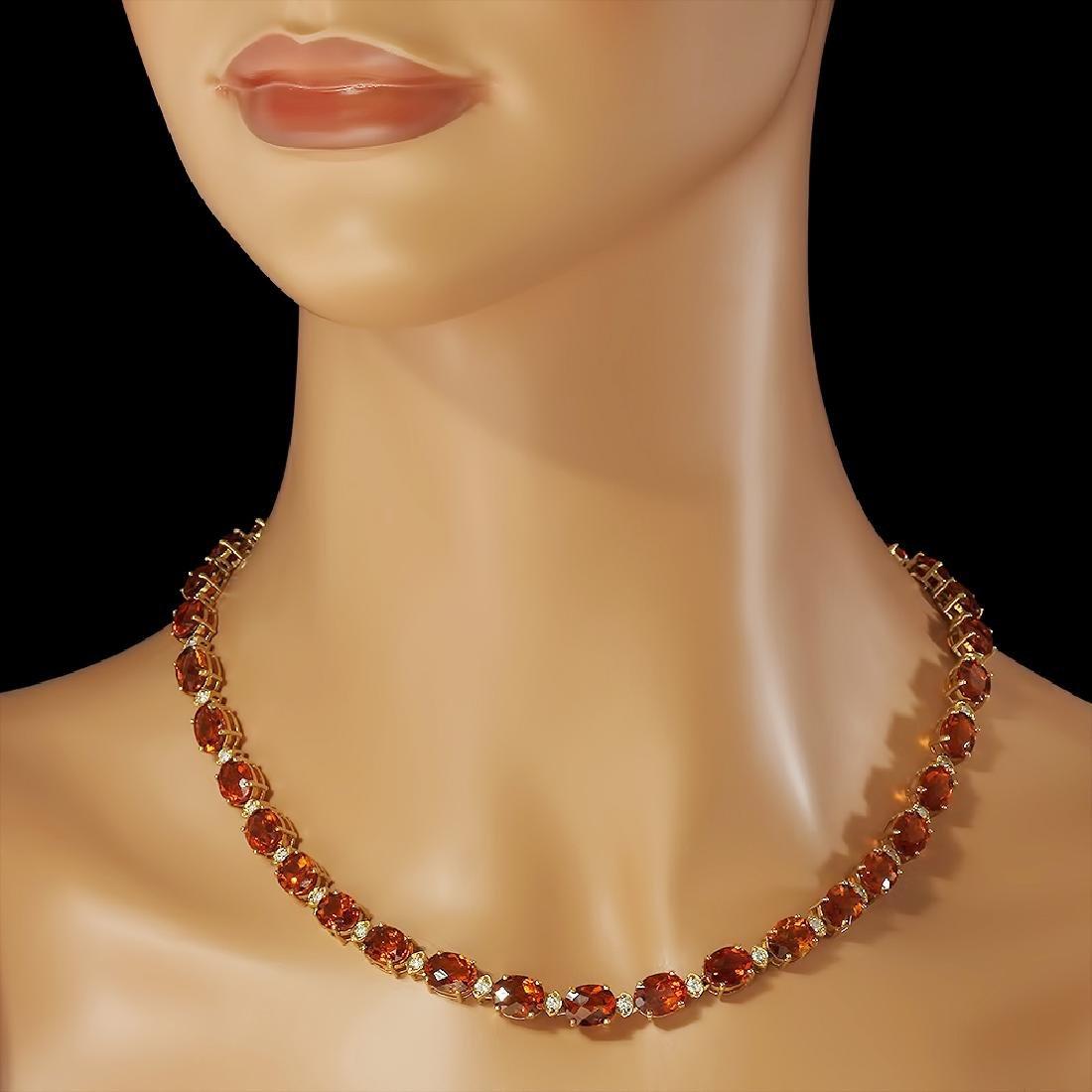 14K Gold 60.15ct Citrine Diamond Necklace - 3
