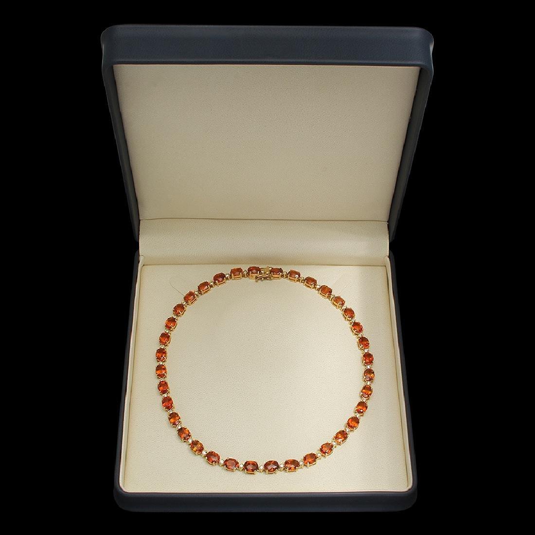 14K Gold 60.15ct Citrine Diamond Necklace - 4