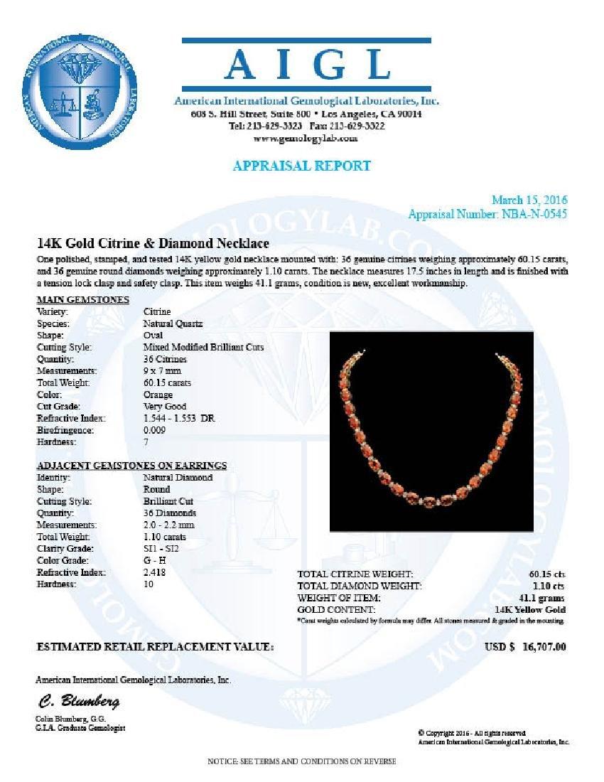 14K Gold 60.15ct Citrine Diamond Necklace - 5