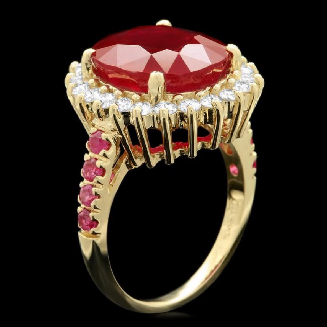 14k Yellow Gold 10.3ct Ruby 0.80ct Diamond Ring - 2
