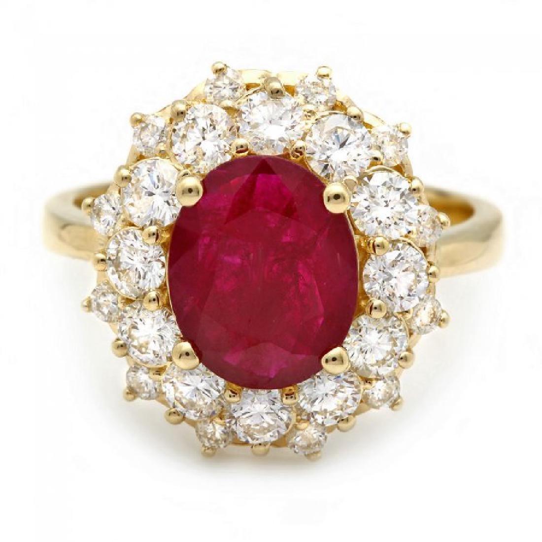 14k Yellow Gold 1.50ct Ruby 1.50ct Diamond Ring - 2