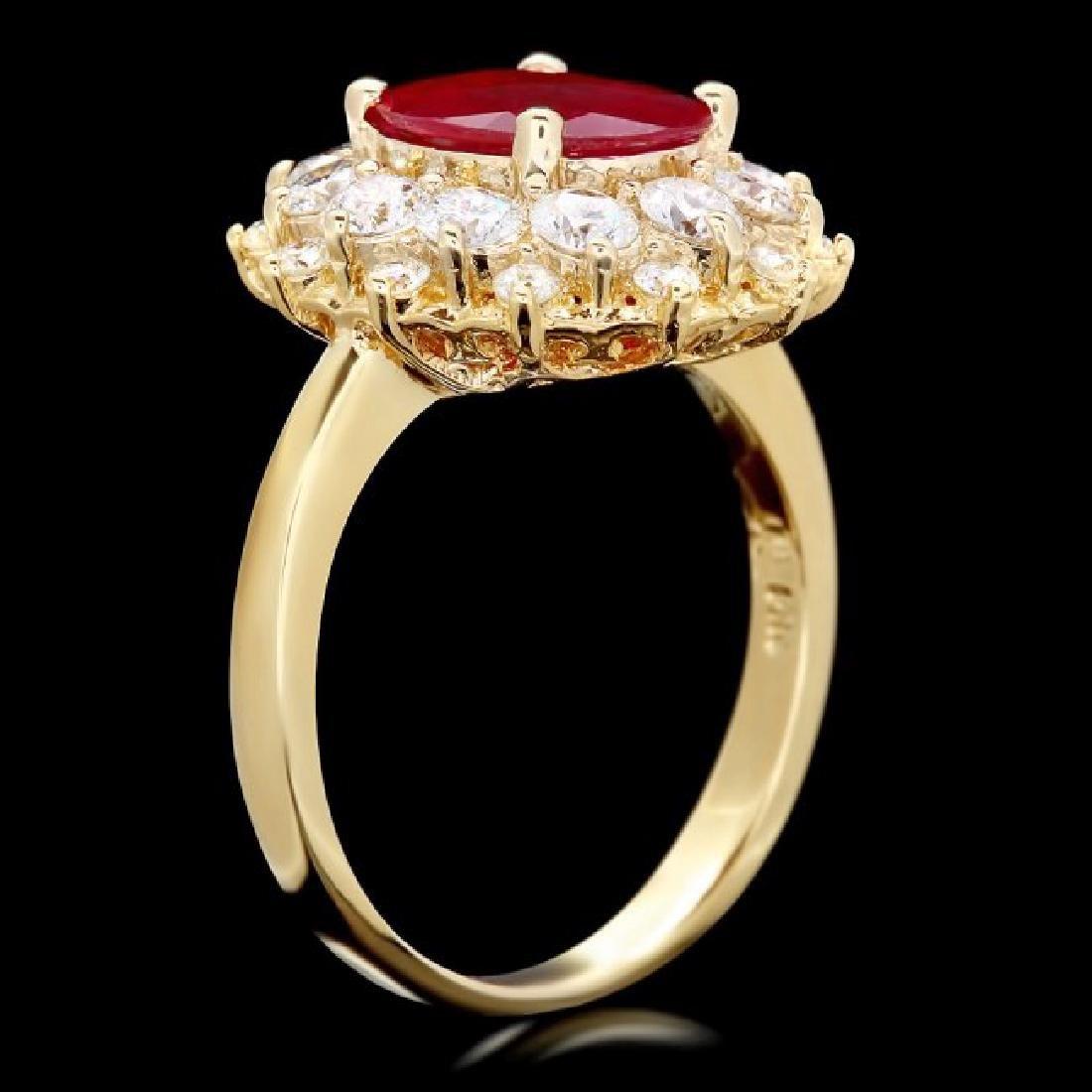 14k Yellow Gold 1.50ct Ruby 1.50ct Diamond Ring - 3