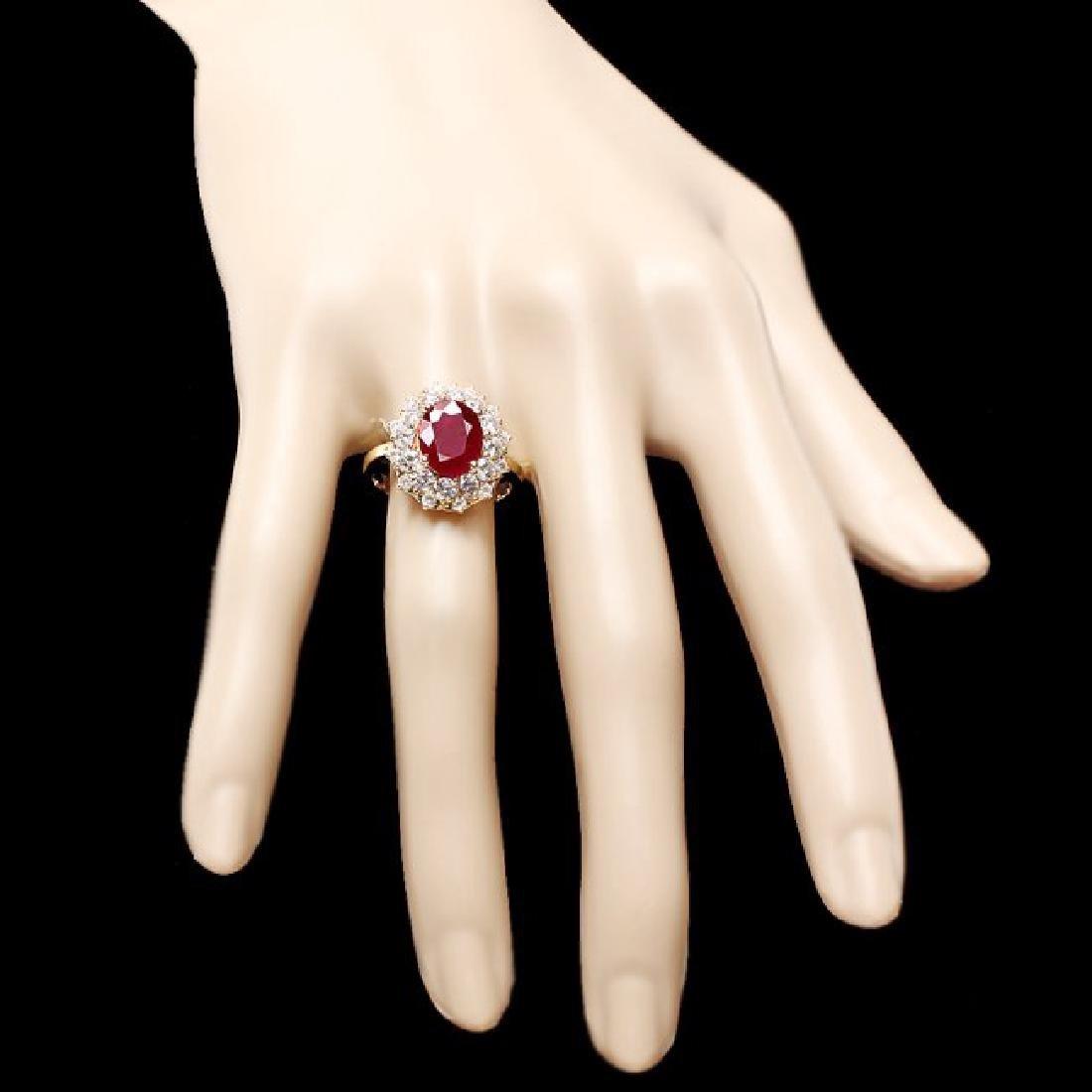14k Yellow Gold 1.50ct Ruby 1.50ct Diamond Ring - 4