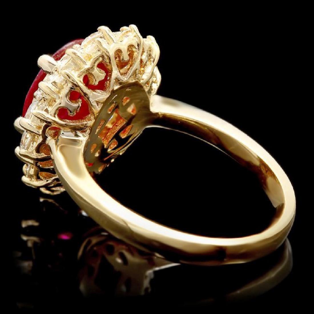 14k Yellow Gold 1.50ct Ruby 1.50ct Diamond Ring - 5
