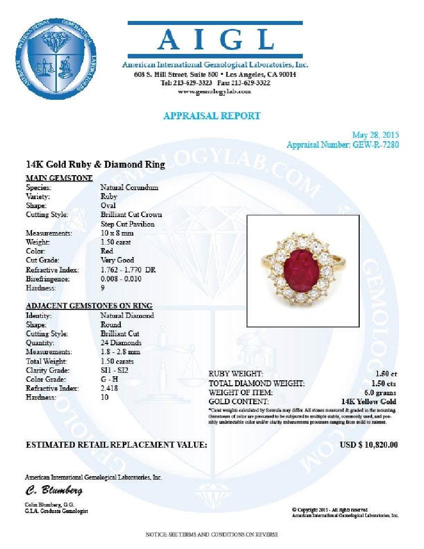 14k Yellow Gold 1.50ct Ruby 1.50ct Diamond Ring - 6