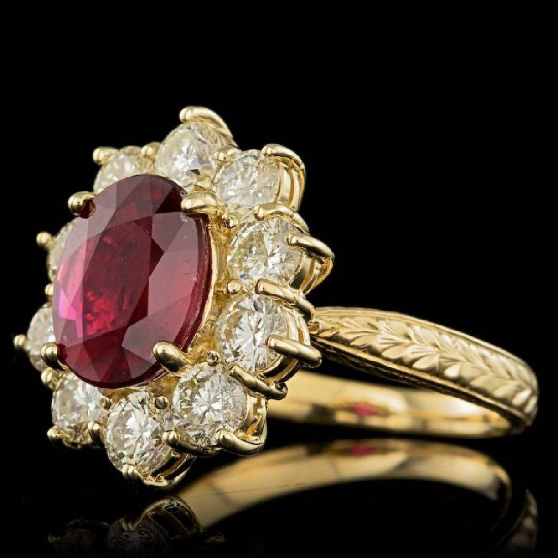 14k Yellow Gold 3.00ct Ruby 2.15ct Diamond Ring - 2