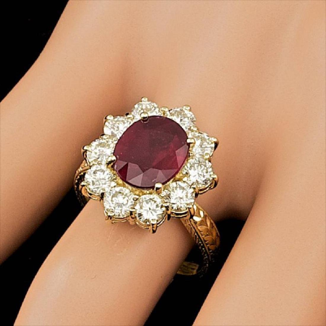 14k Yellow Gold 3.00ct Ruby 2.15ct Diamond Ring - 3