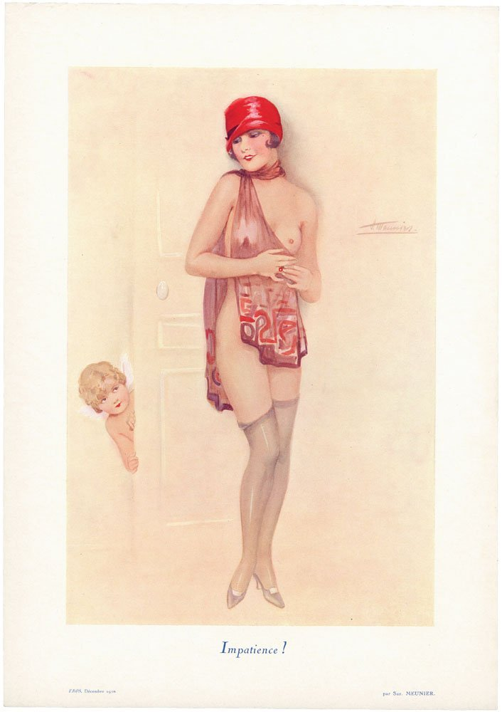 1926 Art Deco French EROS Print-Nude Risque Flapper