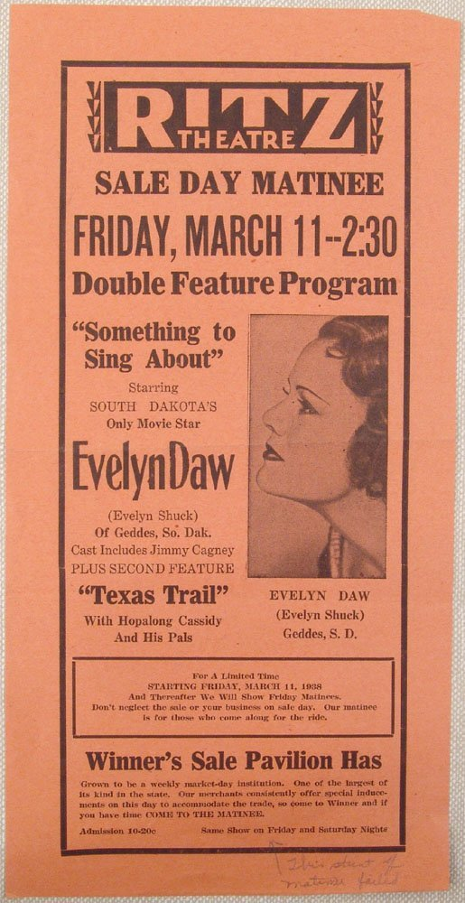1938 Ritz Theatre Promo-Evelyn Daw/Hopalong Cassidy