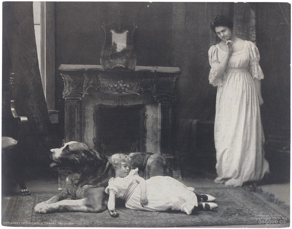 TONNESEN SISTERS Rare 1901 Print-Sweet Girl/St. Bernard