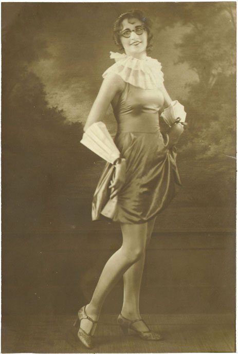 1920s Photo-Flapper Girl-Fake Nose/Glasses-Showing Leg