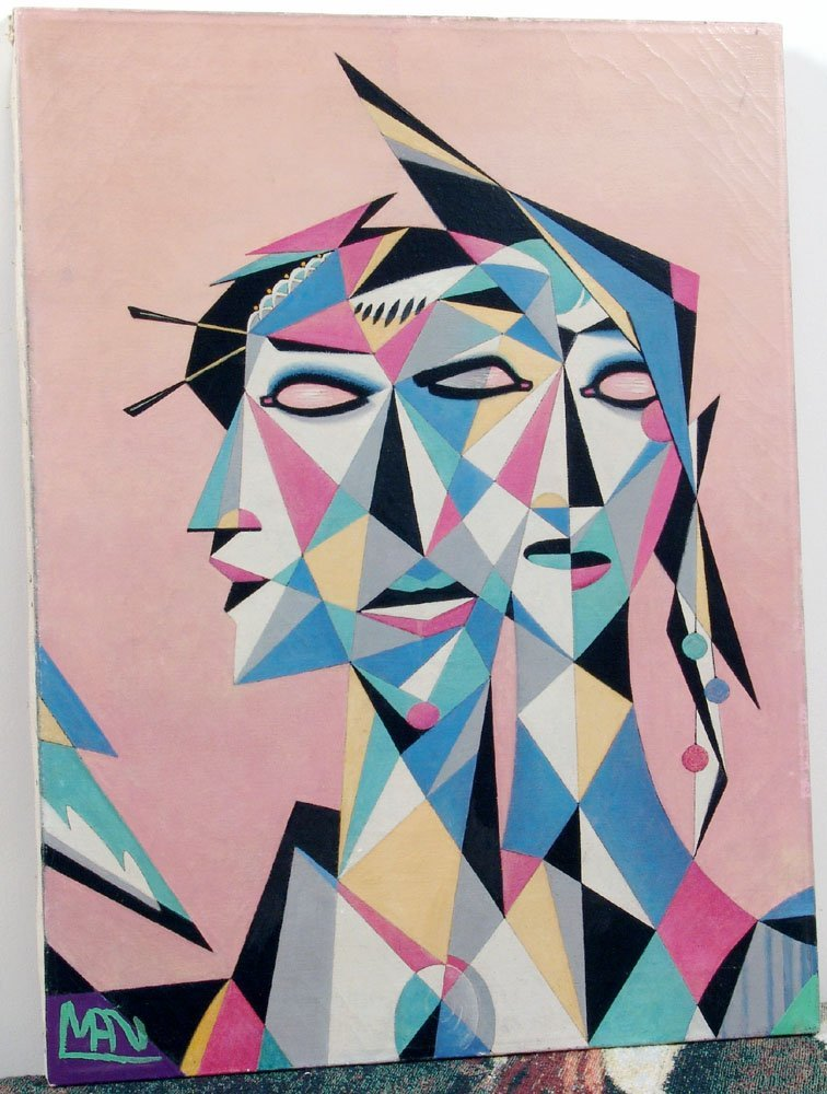 Coolest 1950s Oil Painting-Abstract/Cubist-3 Heads-Sgnd