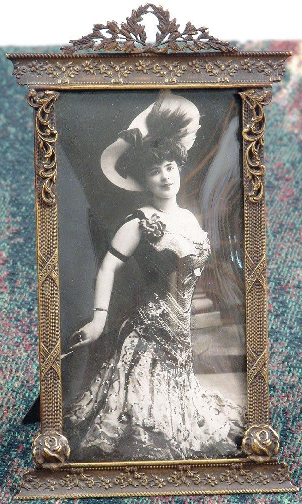 Old Edwardian Frame-Superb Ornate Metal/Convex Glass