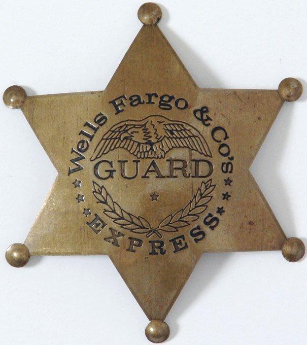 Old WELLS FARGO & Company Express GUARD Badge - Fox